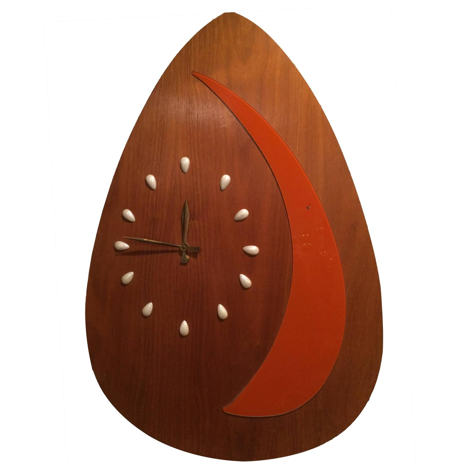 huge rare mid century modern guitar pick wall clock for sale at