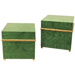 Faux Malachite Boxes, A Pair