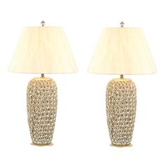 Pair of Modern Large-Scale Shell Lamps with Lucite and Silver Leaf Accents