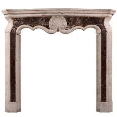 Small Italian Carrara and Rosso Levanto Marble Chimneypiece Mantel