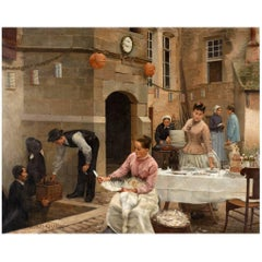"""Georges-Marie-Julien Girardo (French 1856-1914) Oil on Canvas """"A Wedding Party"""""""