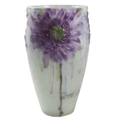 """French """"Chrysanthemums"""" Cameo Glass Vase by Gabriel Argy-Rousseau"""