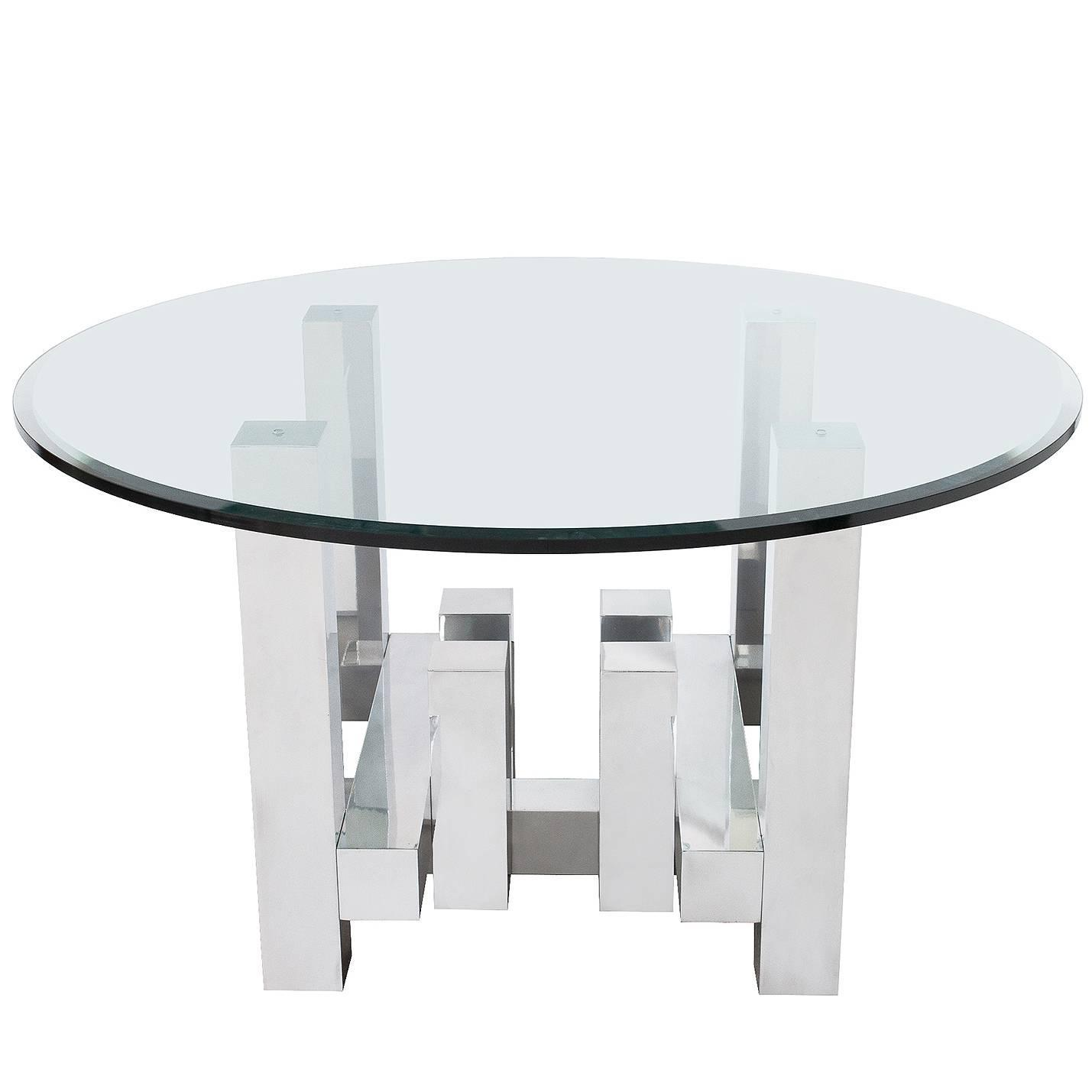 Paul Evans Style Aluminum Geometric Cityscape Dining Table at 1stdibs