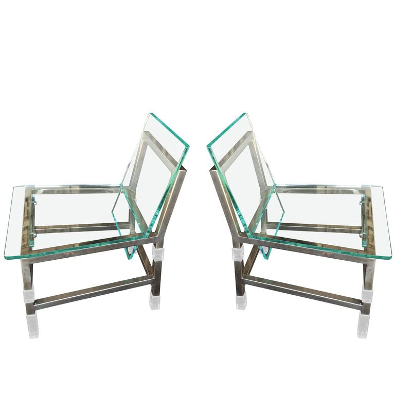 "Pair of ""Metric"" Chairs in Lucite and Nickel by Charles Hollis Jones, Signed"