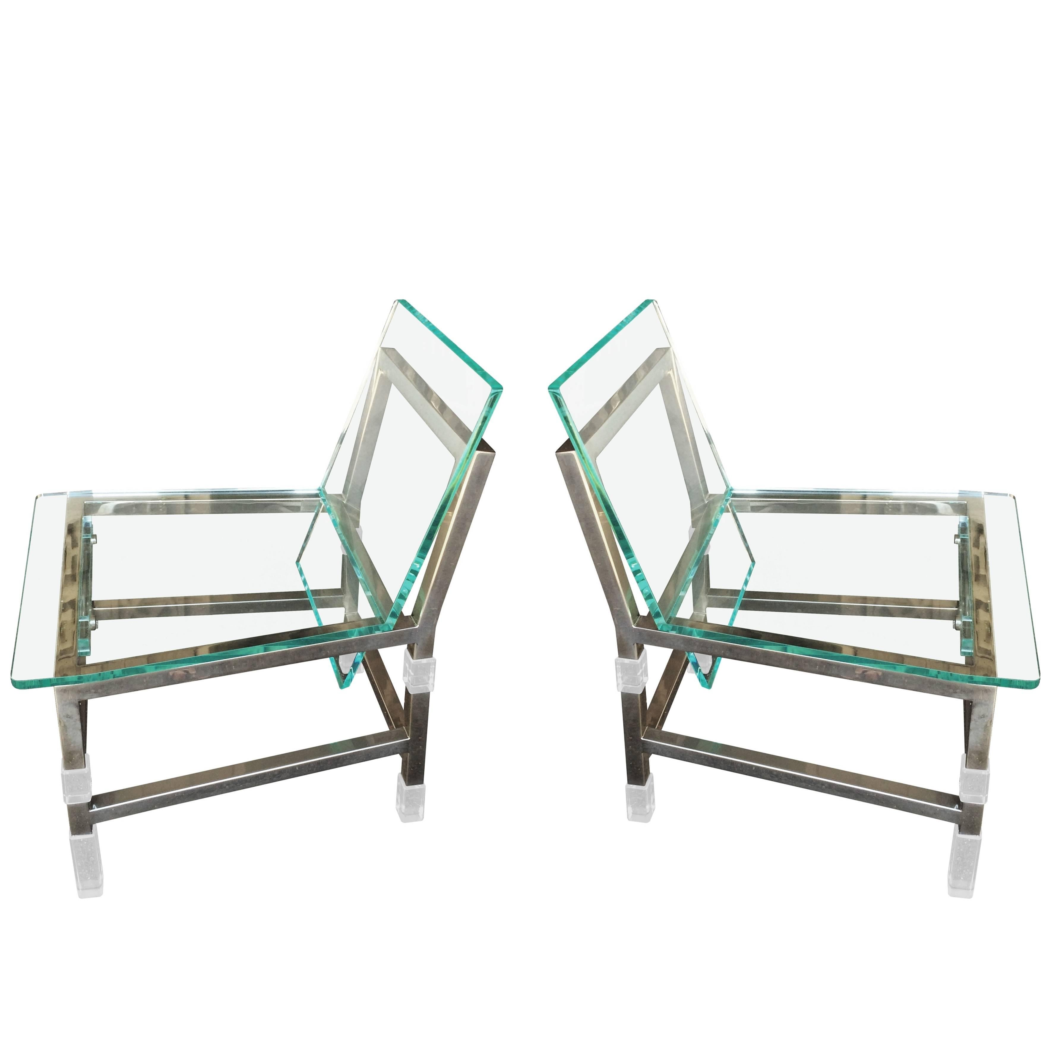 """Pair of """"Metric"""" Chairs in Lucite and Nickel by Charles Hollis Jones, Signed"""