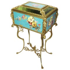 Superb Early 20th Century Aesthetic Movement Majolica & Gilt-Metal Jewelry Box