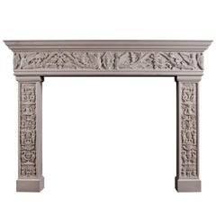 Carved Italian Renaissance Fireplace