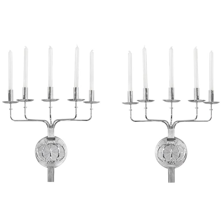 Pair of Impressive Five Branch Wall Sconces by Tommi Parzinger