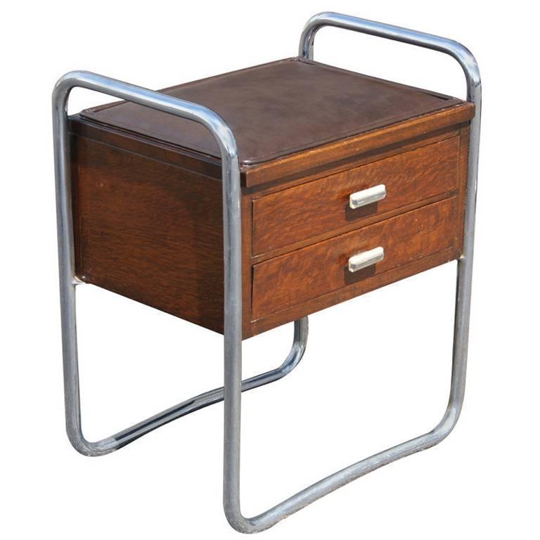 Art Deco PEL Tubular Chrome Oak and Leather Side Table