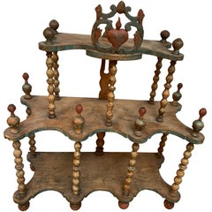 18th Century Folk Art Shelf With Heart And Pineapple Carvings