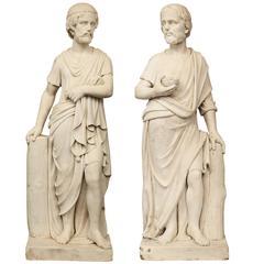 True Pair of Italian Early 19th Century White Carrara Marble Statues