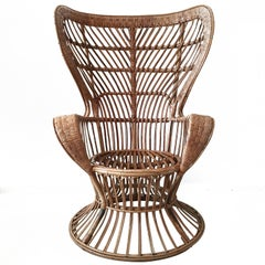 Rattan High Back Armchair, circa 1950