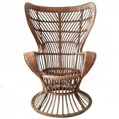 Rattan High Back Armchair, circa 1950