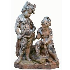 """Terra-Cotta Group of Children, """"Allegory of Hunting and Fishing,"""" 19th Century"""
