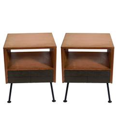 Pair of Clean Lined Nightstands or End Tables by Raymond Loewy