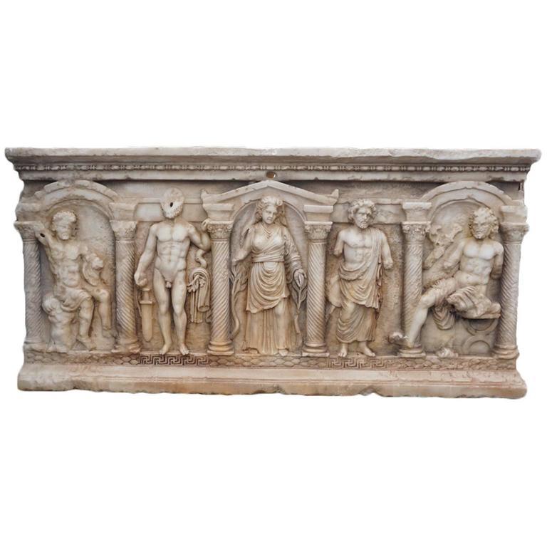 19th Century Antique Marble Sarcophagus Basin