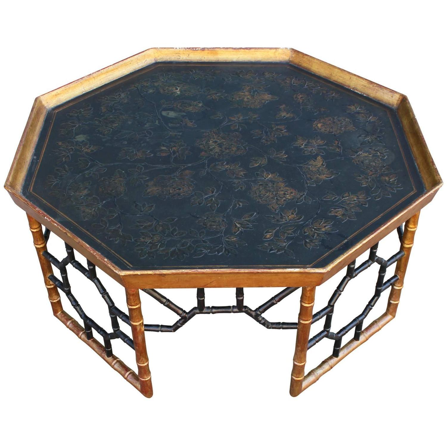 Elegant Italian Faux Bamboo Gold Leafed Tray Coffee Table At 1stdibs