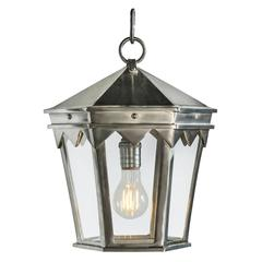 Vintage Inspired Wrought Iron Pendant Lantern in Brushed Nickel
