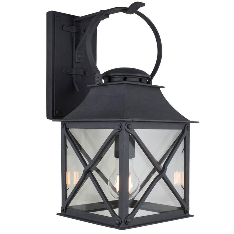 Classic Coastal Wrought Iron Light Lantern for Exterior Outdoor by Britt Jewett For Sale