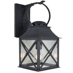 Classic Coastal Wrought Iron Light Lantern for Exterior, by Britt Jewett, Grey