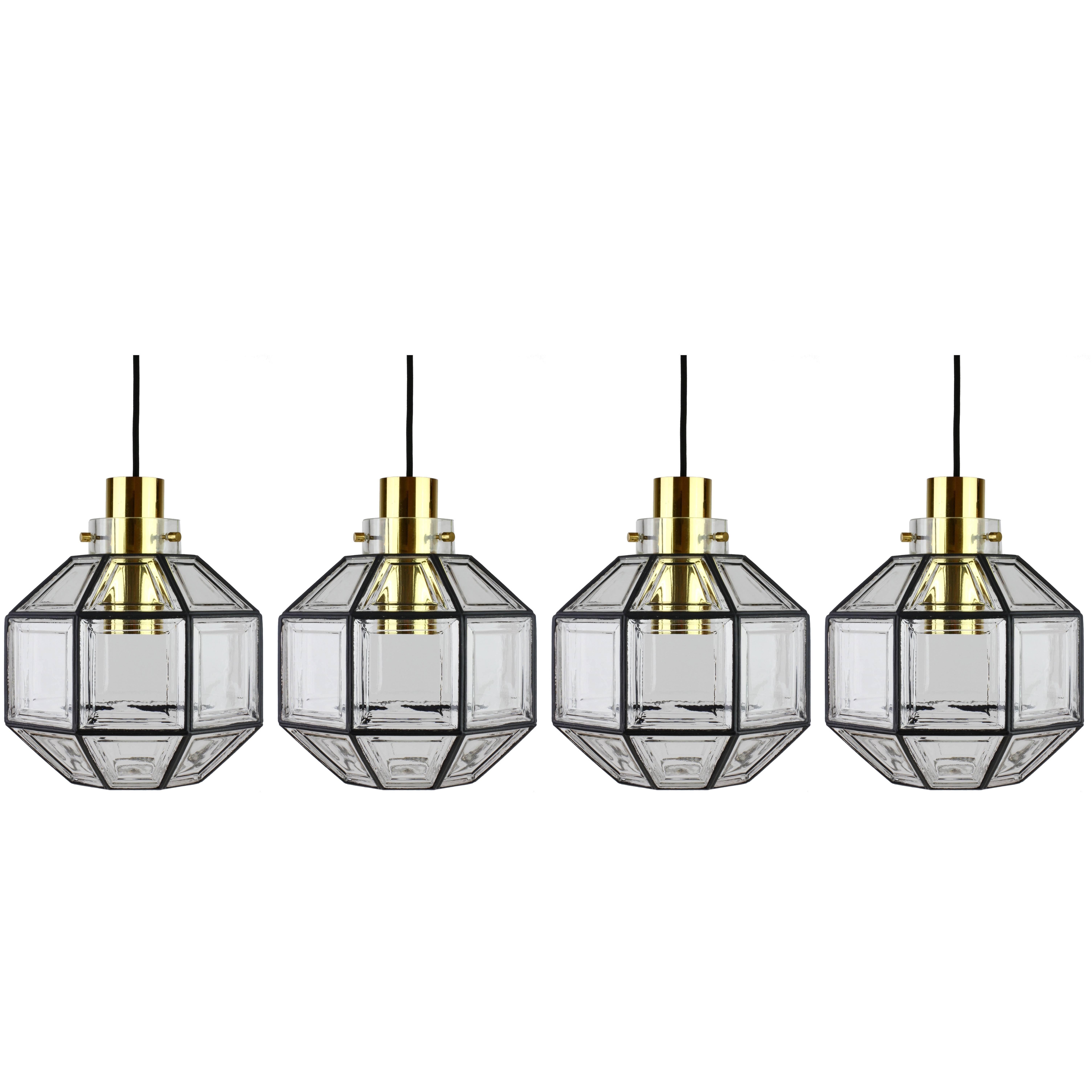 Four Large Minimalist Iron & Glass Pendant Lights by Glashütte Limburg 1960s