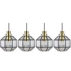 Four Large Minimalist Iron & Glass Pendant Lights by Glashütte Limburg 1960s