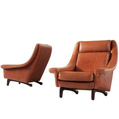 Pair of Scandinavian Lounge Chairs in Cognac Leather