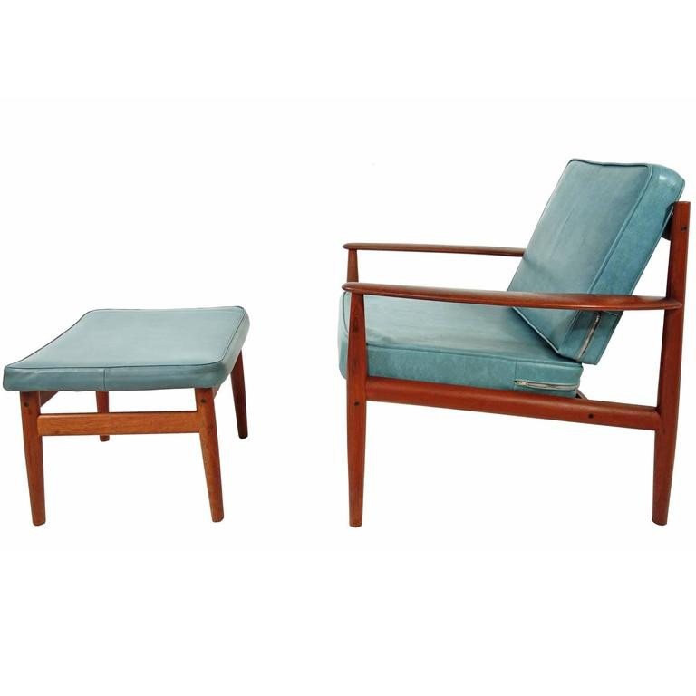 Grete Jalk Lounge Chair And Ottoman For Sale