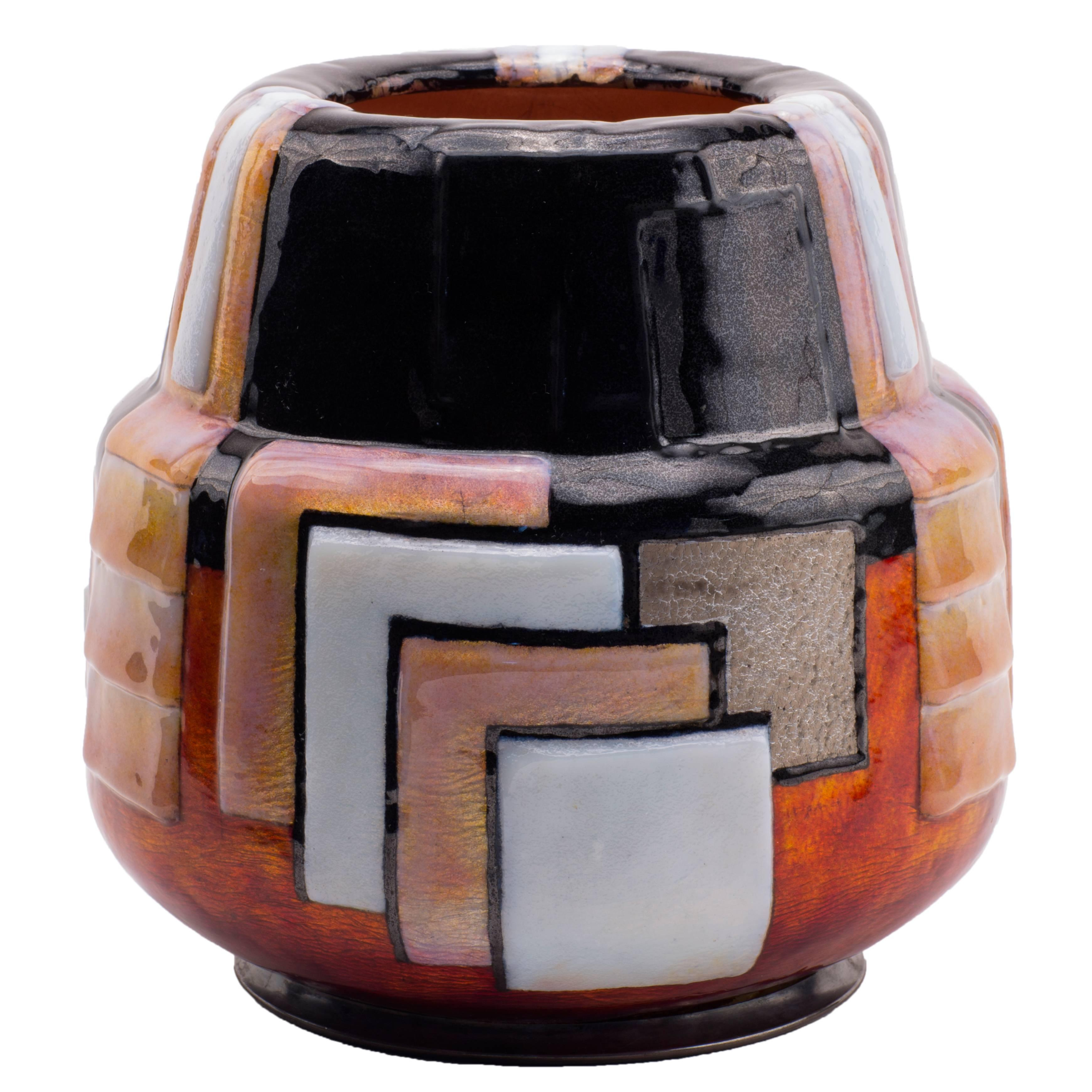 Art Deco Geometric Enameled Vase by, Camille Fauré