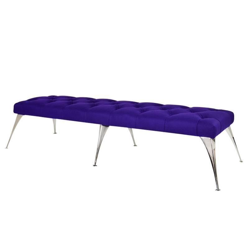 Extra Long Tufted Purple Wool Bench For Sale At 1stdibs
