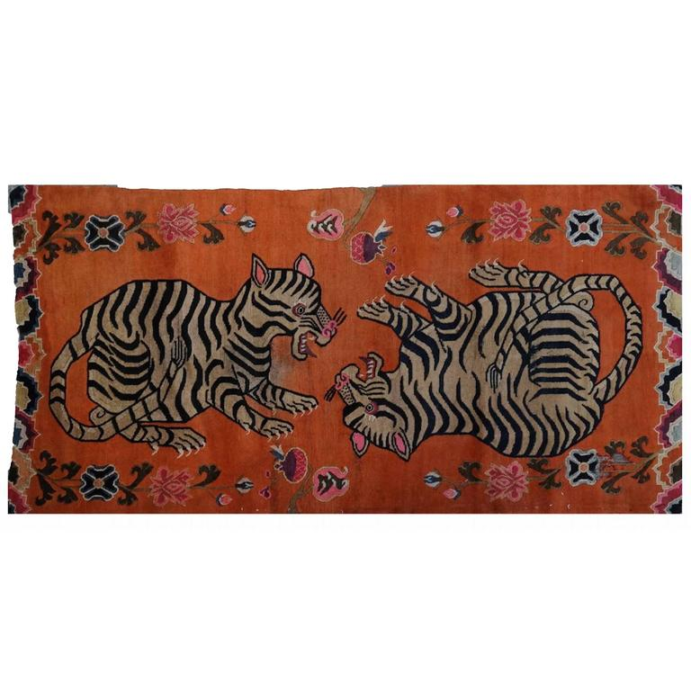 Tibetan Playful Tiger Cub Rug For Sale At 1stdibs