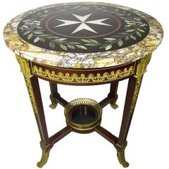 "19th Century Louis XV Style Ormolu-Mounted ""Pietra Dura"" Gueridon Side Table"