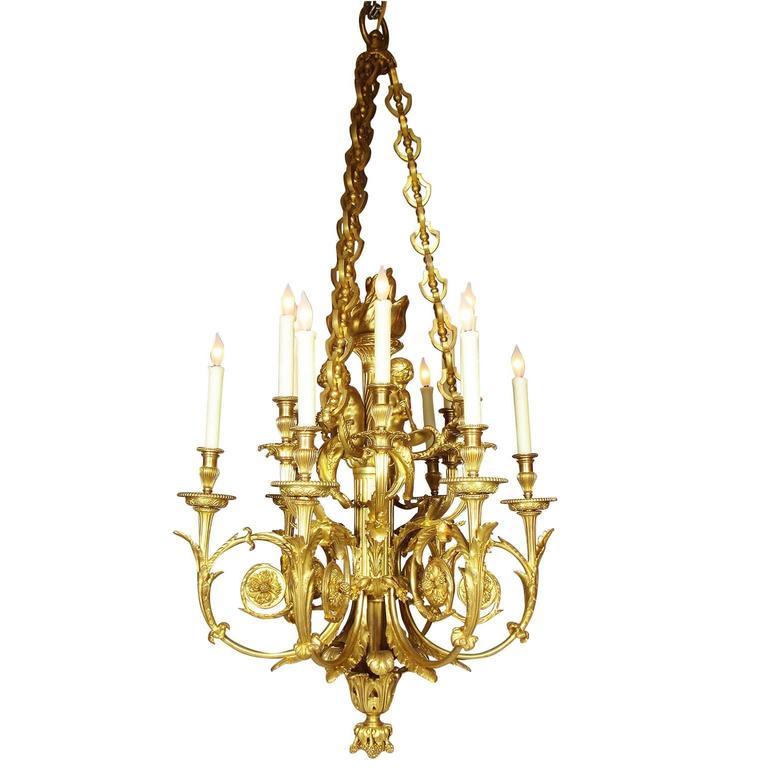19th Century Louis Xvi Style Ormolu Cherub Chandelier