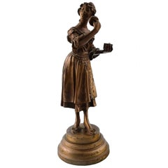 Adolphe Rivet French Sculpture, Bronze Figure of Pernille, circa 1900