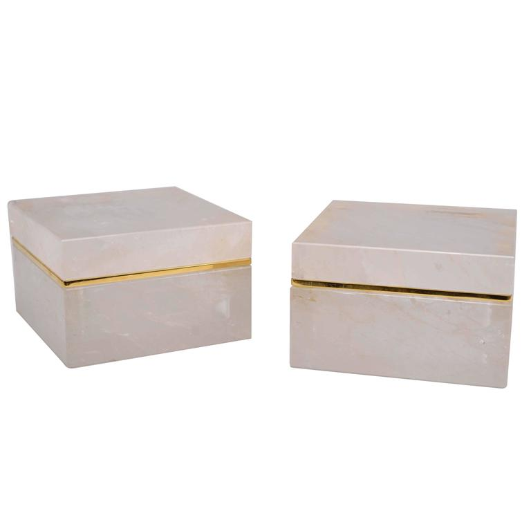 Pair of Carved Rock Crystal Quartz Boxes with Cover