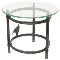 Maitland-Smith Solid Bronze Round Side Table with Parrot Style Diego Giacometti