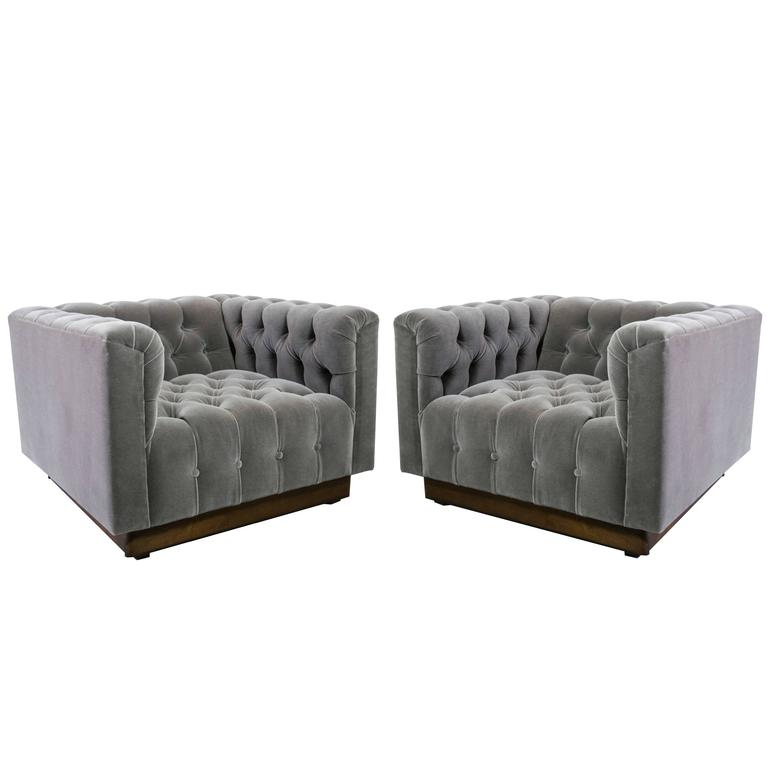 Oversized Milo Baughman Tufted Lounge Chairs in Smoky Gray Mohair 1