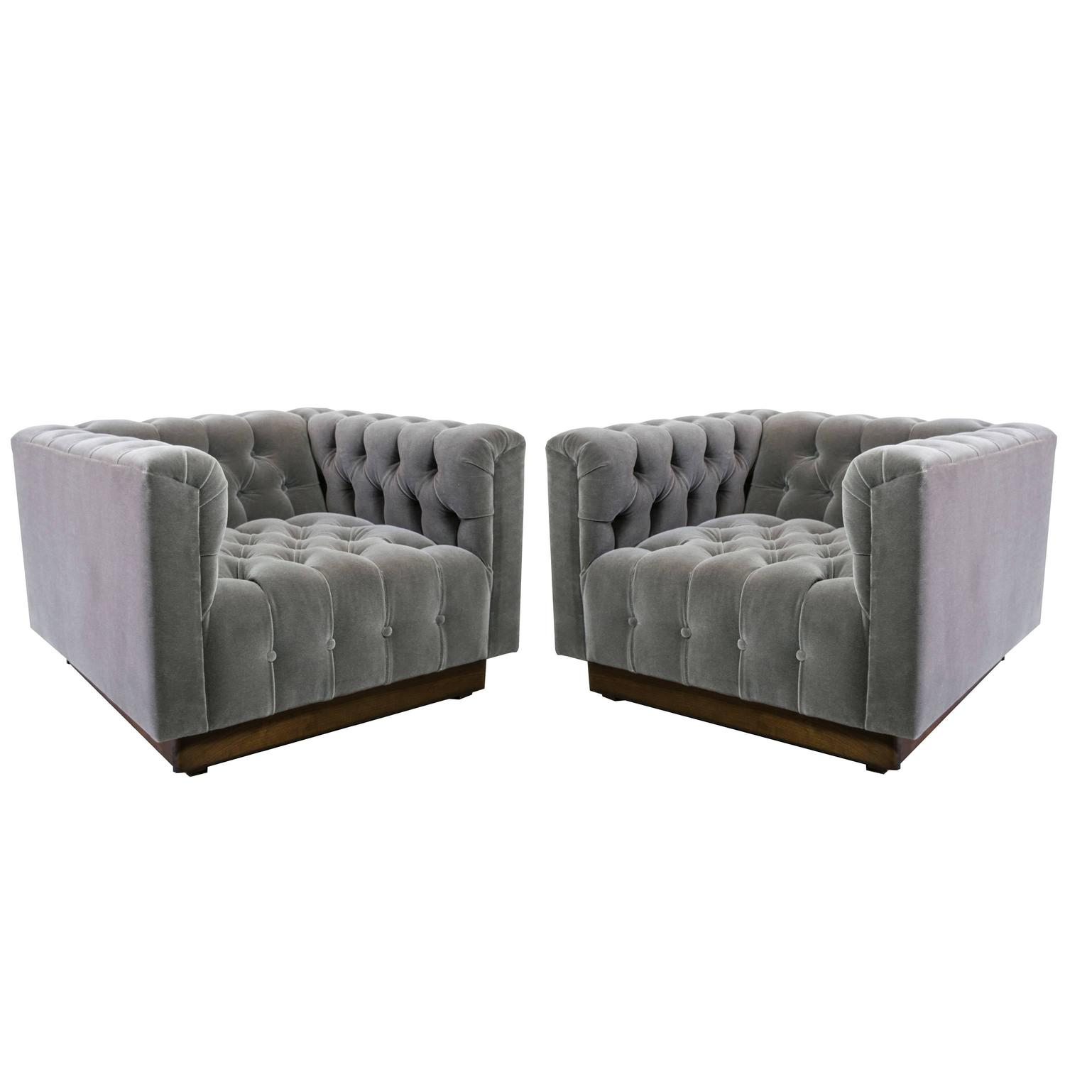 Oversized Milo Baughman Tufted Lounge Chairs in Smoky Gray Mohair For Sale at