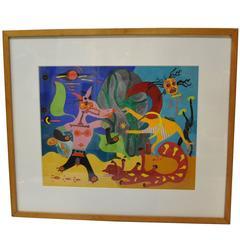 Tempera Original Gertrude Russell Barrer Abstract Surrealism Circa 1945