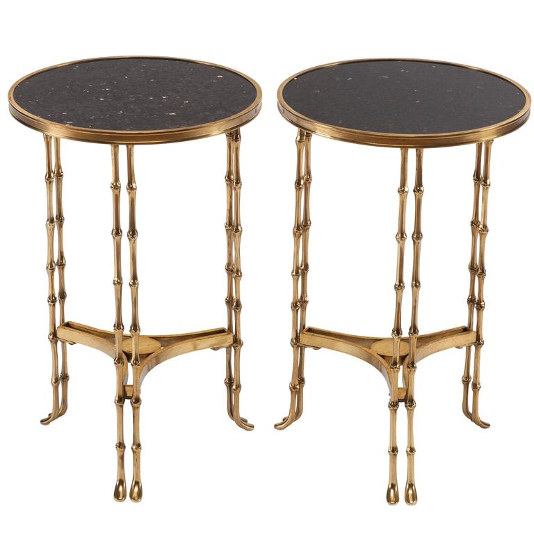 Pair Of Early 20th Century French Neoclassical Bronze And Granite End Tables  For Sale
