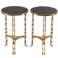 Pair of Early 20th Century Neoclassical Round Gilt Bronze and Granite End Tables