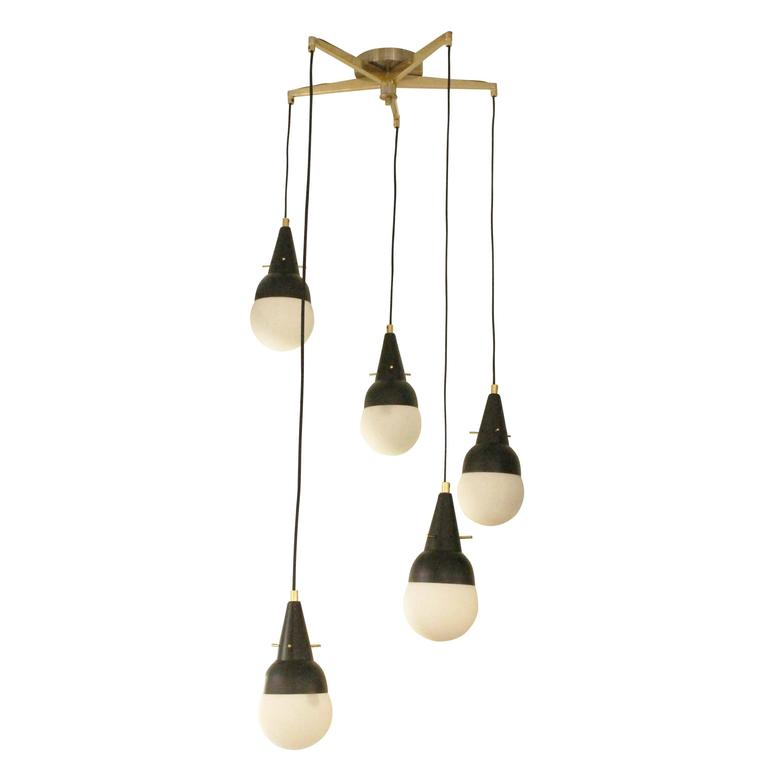Five-Pendant Fixture in the Manner of Stilnovo, Italy, 1950s