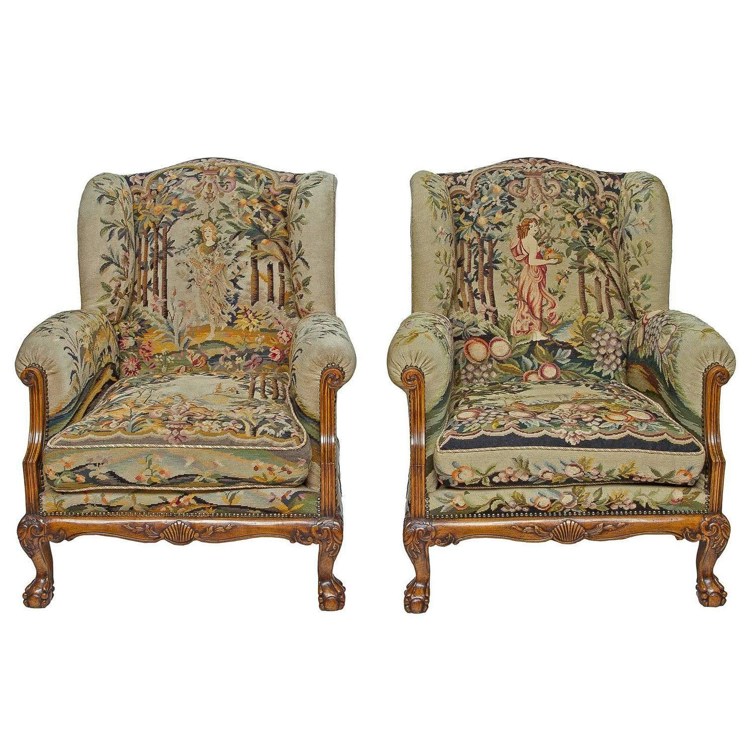 Delightful Pair Of Tapestry Wingback Club Chairs At 1stdibs