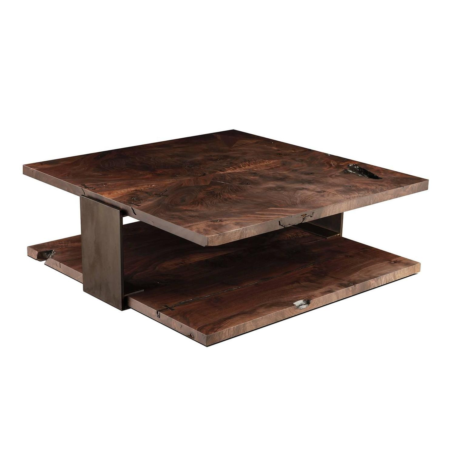 Shadow Coffee Table in Smoked Walnut and Blackened Steel by Studio