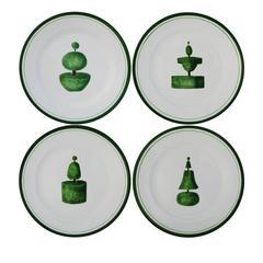 Set of Four Topiary Italian Ceramic Plates by Este Ceramiche