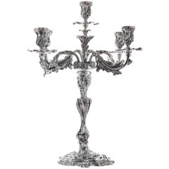 Fiamme Five-Arm Sterling Silver Candelabra