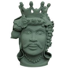 Alfio Head Sicily Ceramic Vase by Stefania Boemi