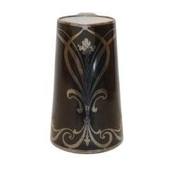 Art Nouveau Silver Overlay Porcelain Pitcher
