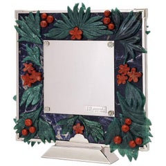 Boho Chic Large Silver Flower Frame with Natural Stones, Peace