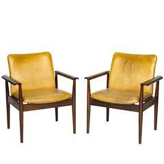 """Pair of Finn Juhl """"Diplomat"""" Armchairs"""